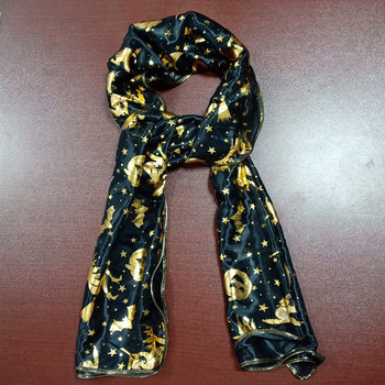 adult halloween black scarf with gold pumpkin and witch printed