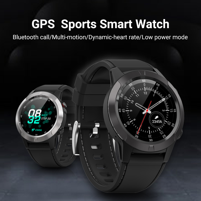 GPS sports smart watch tracker BT call  built-in GPS notifications barometer altitude compass real time weather waterproof IP68