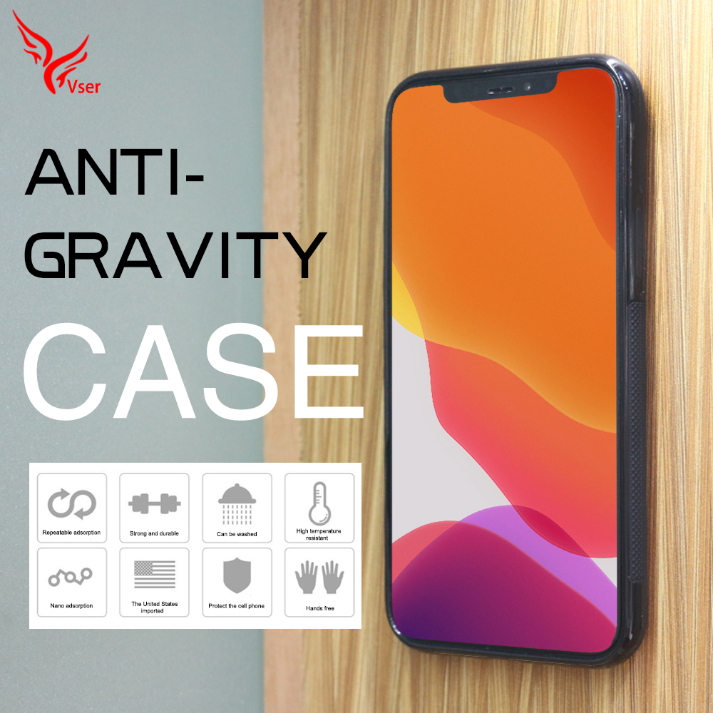 High Quality Anti-gravity Adsorption Sticky Nano Suction Anti Gravity Mobile Phone Cover <strong>Case</strong> For Iphone 11 pro max
