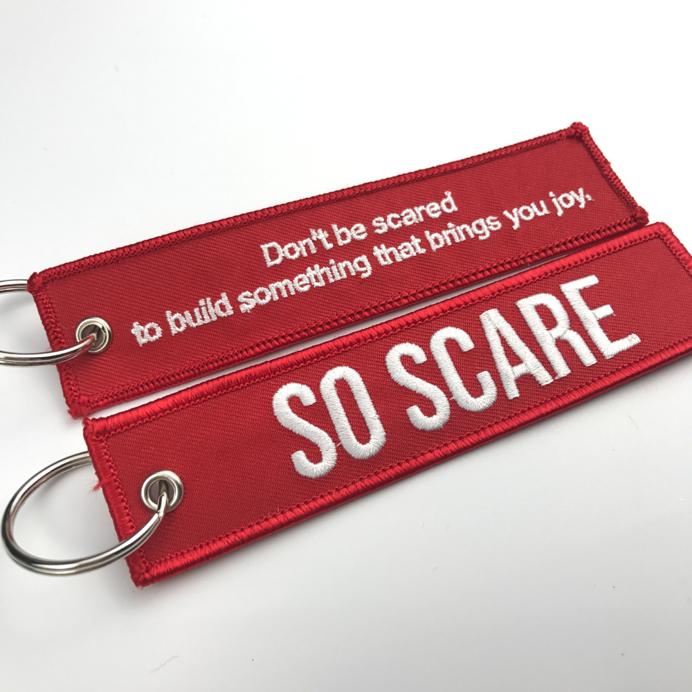 Cheap custom jet fabric key tag/ embroidery keychain/embroidered keyring