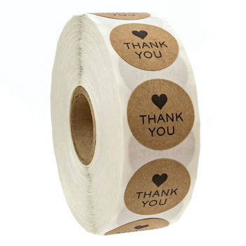 Wholesale Thank You Design Die Cut Adhesive Paper Stickers With Shiny Gold Foil Printing