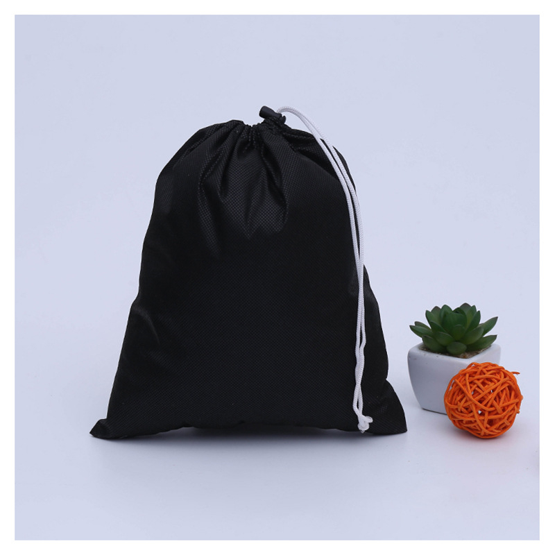 Environmentally Friendly Acceptance Of Canvas Printing Cotton Bundle Pockets Custom-Made Black Direct Sales Drawstring Bag