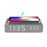 2020 New Design Custom Logo 5W/10W Wireless Charger with LED Digital Alarm Clock