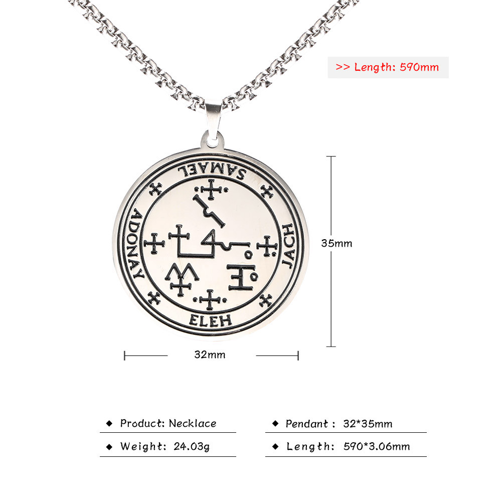 MAG030 Fashion Viking Style Stainless Steel Letter Necklace Nordic Amulet Religious Symbol Greek Letter Stainless Steel Pendant