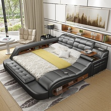 <strong>Modern</strong> upholstered black leather gas lift storage bed for wholesale
