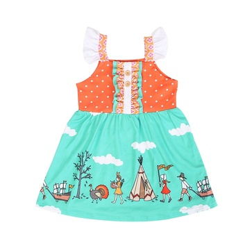 Wholesale boutique children clothing Green bottom camping Turkey baby girl party dress