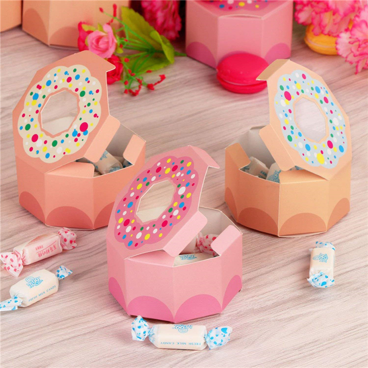 White cardboard paper mini donuts packaging box