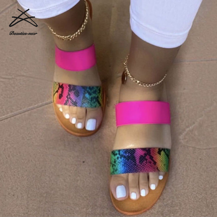 RTS 2019 Cheap wholesale Ladies Flat Shoes Pvc slipper slide sandal