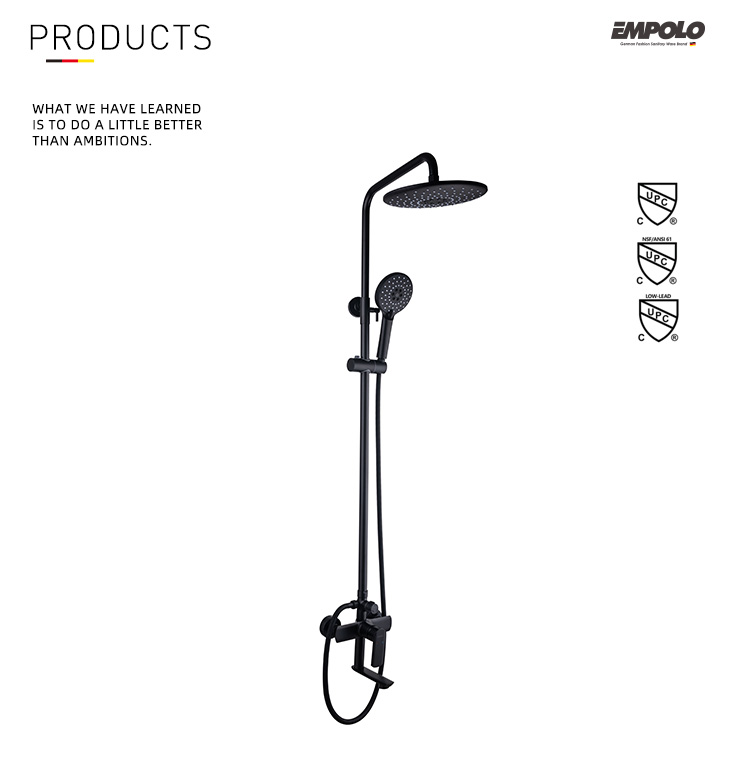 Empolo Supply Hot Selling Brass Bathroom Faucet Shower Head Shower Complete Set