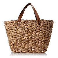 Sturdy hand woven beach picnic bag seagrass shopping basket for women