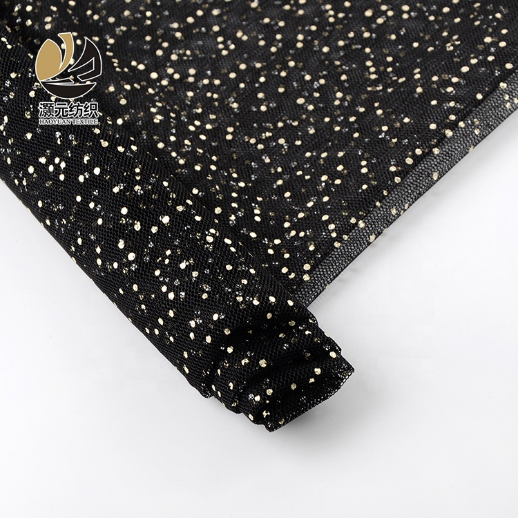 Fancy design high <strong>quality</strong> black printed rose gold polka dot tulle netting fabric for dress