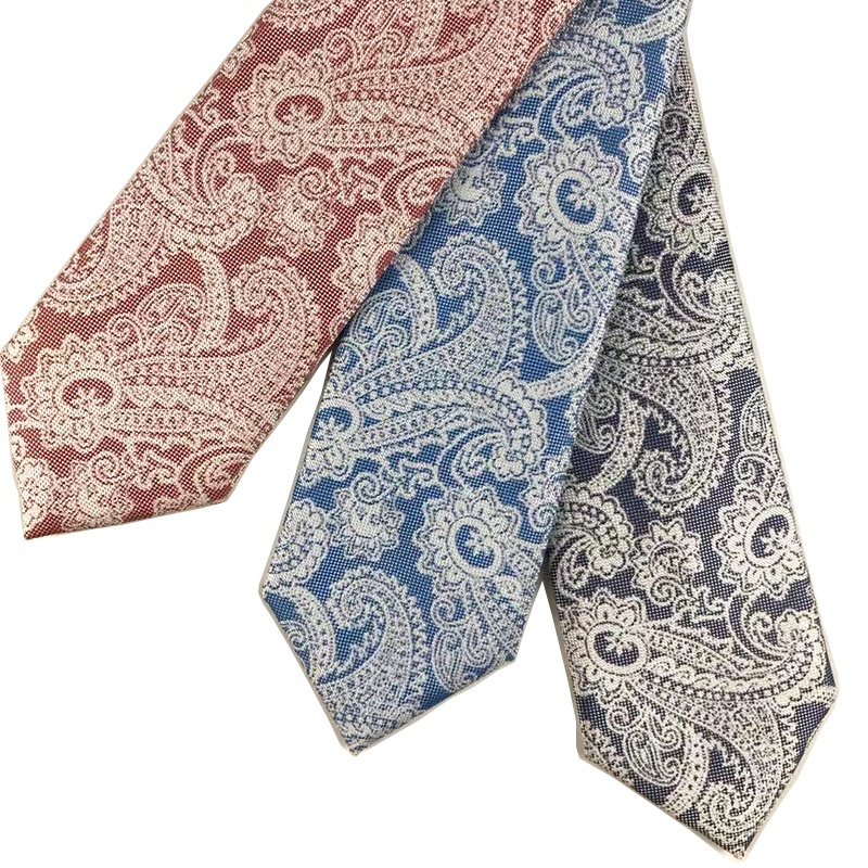 High quality custom polyester necktie orange blue colour hand made paisley ties for <strong>men</strong>