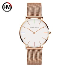 hannah martin HM-3690-<strong>H</strong> new arrival rose gold women quartz watch superior Mesh band Waterproof decorations big Casual hand watch