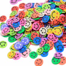 Hottest 5mm Rainbow Colors Happy Face Smiley Polymer Clay Slices for Slime Charms Supplies and Nail <strong>Art</strong>