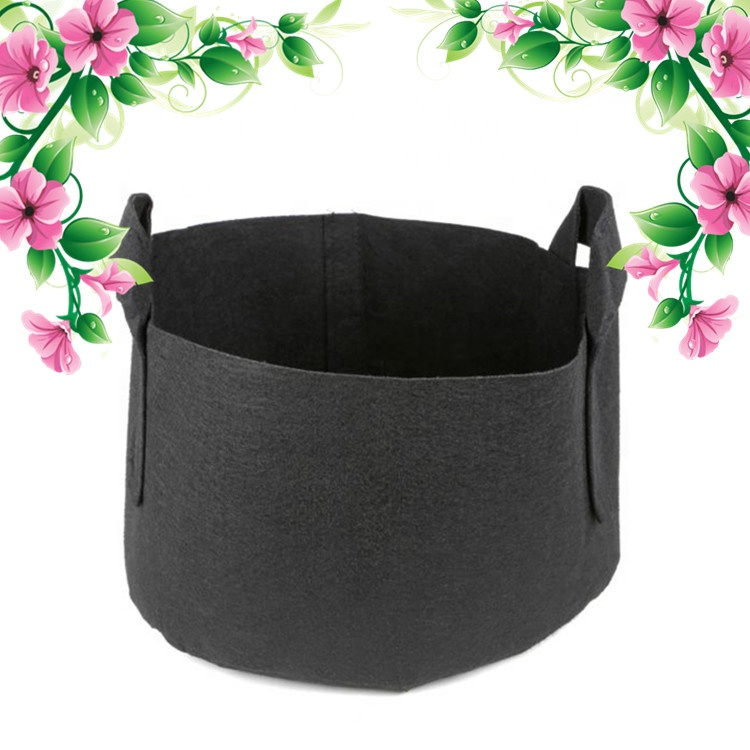 15-Gallon Aeration Fabric Pot/Planting Grow Bag <strong>w</strong>/Handles (Black 14.5H x 17D)