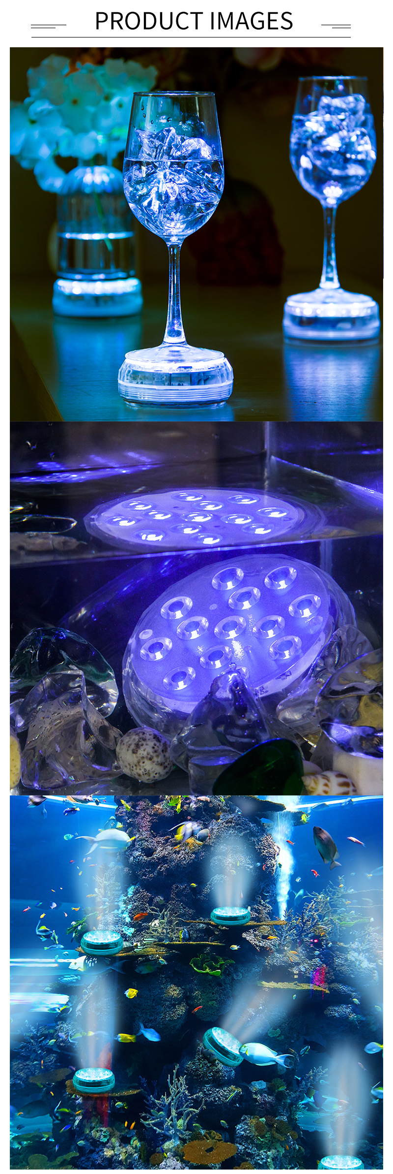 LED Waterproof Submersible Lights RGB 21Keys IR Remote Control with Magnet and Suction Cups Underwater Lights