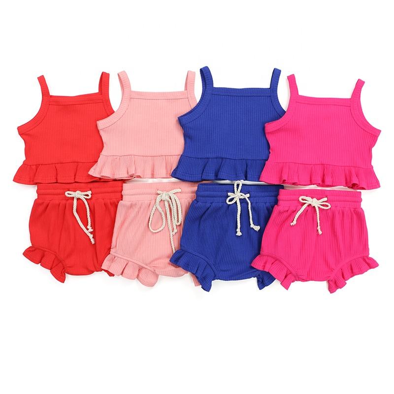 Newborn baby clothes kids clothing summer top draw string ruffle baby bloomer knit cotton ribbed girl set