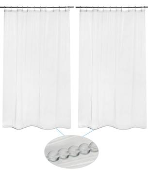 "2 Pack 3G PEVA 72"" W x 84"" H clear extra long shower curtain liner with glass beads"