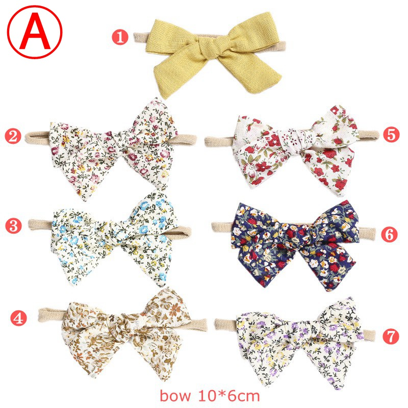 Baby Girls Floral Prints Cotton Bows Nylon Headbands 10*6 cm Newborn Traceless Knot <strong>Hair</strong> <strong>Accessories</strong>