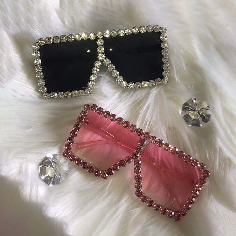 YIDING Ce Brand Designer Oversized Rhinestone Sunglasses Women Big Wide Temple Bling Stones 2019 Fashion Shades Uv400 Glasses