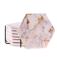Amazon hot-sell ceramic hexagon marble coaster customized design for wedding gift with competitive price