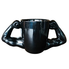 Creative Gift <strong>Sport</strong> Muscle Mug Black White Ceramic Straight Body Ceramic Coffee Mugs