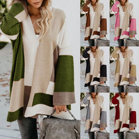 Autumn and winter new sweater women Europe and the United States explosion models large size loose geometric color matching