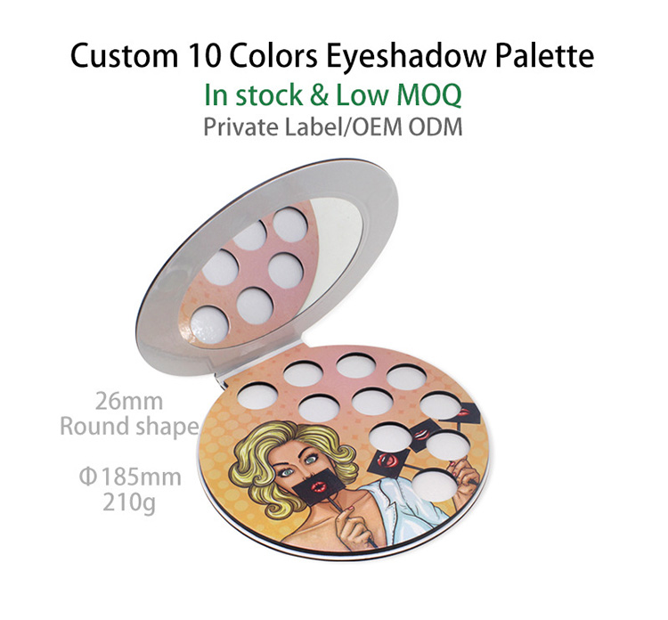 Custom private label empty 10color glitter cardboard matte colorful eyeshadow palette for makeup