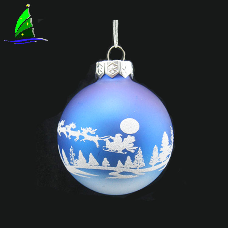 Artdargon Stock Handmade Blown Hanging Home <strong>Decorations</strong> Round Printing Logo Blue Glass Christmas Ball Ornaments