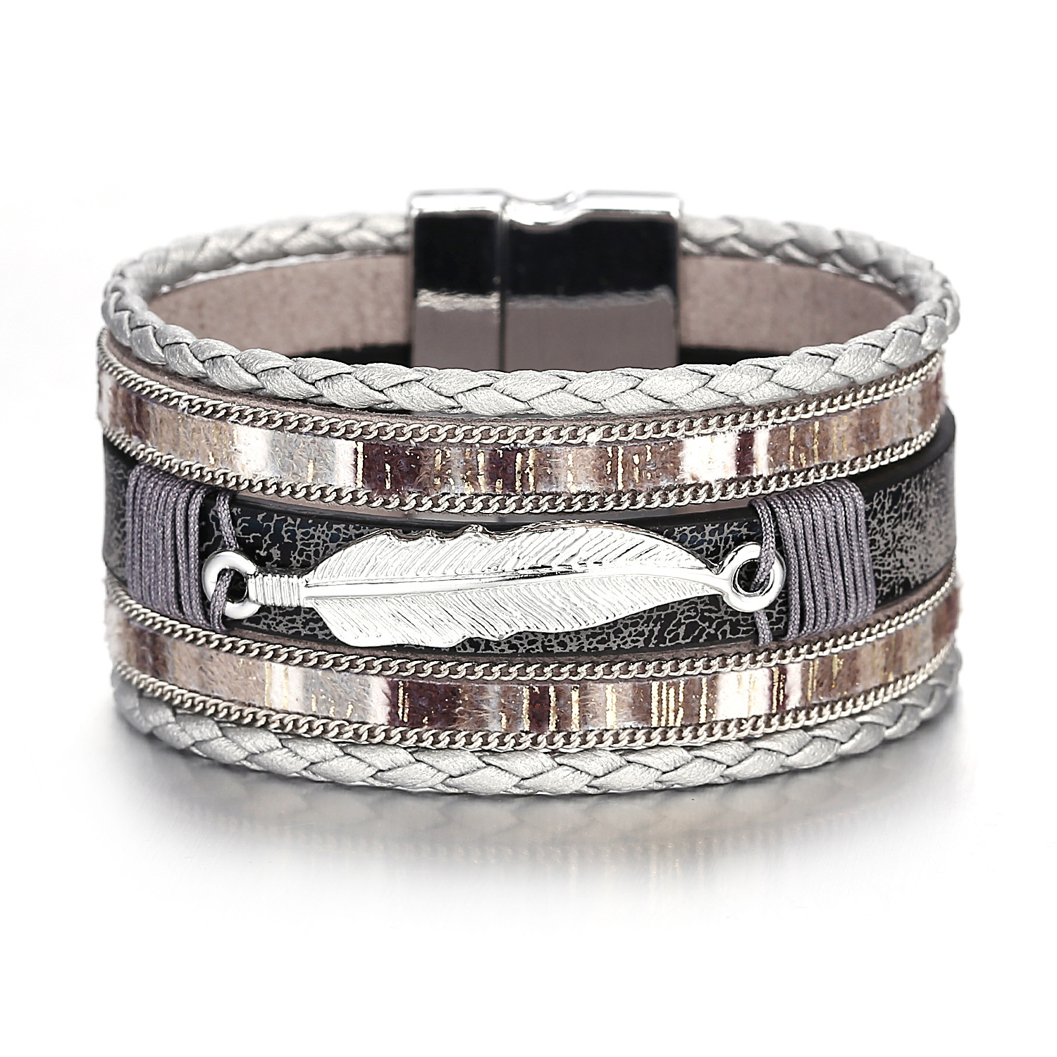 Personalized Shell PU Leather Simple Bracelet Fashion Charm Magnetic Alloy Buckle Layered Bracelets