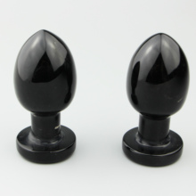 Wholesale natural black obsidian dildo yoni egg healing crystal massage egg with <strong>point</strong> for women