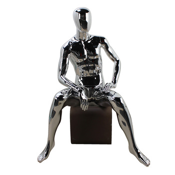New product gild fiberglass window display seated full body male mannequin