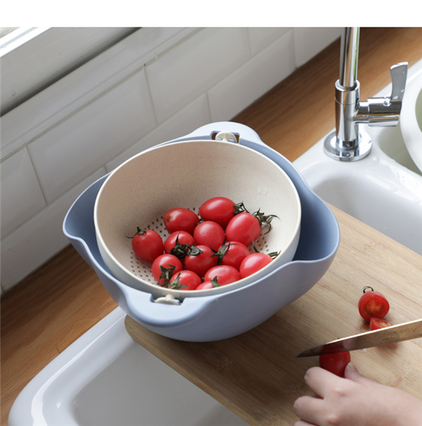 Double-layer Rotary Drain Fruit Basket Plastic Vegetable Multifunctional Drain Basket