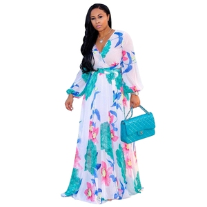 Spring Fashion Ethnic Floral Chiffon V Neck Long Sleeve Beach Maxi Long Dress