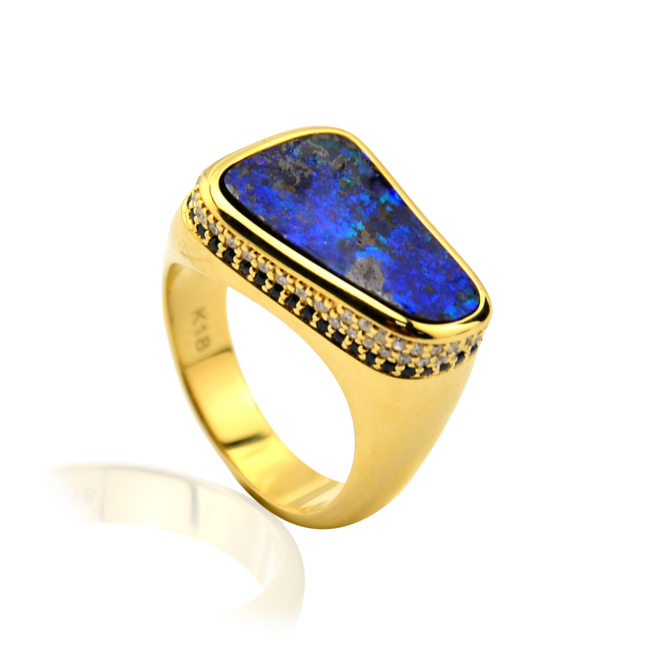 Wholesale Factory Price Customize Ring Quality 18K Real Gold Natural Blue Opal Rings