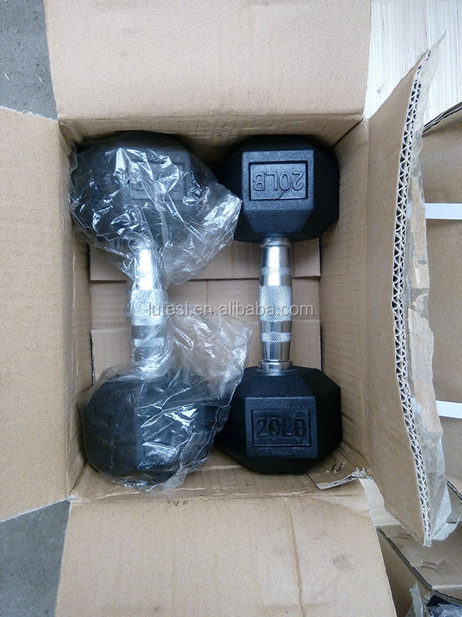 Chinese supplier sports equipment dumbbell price hex rubber dumbbell
