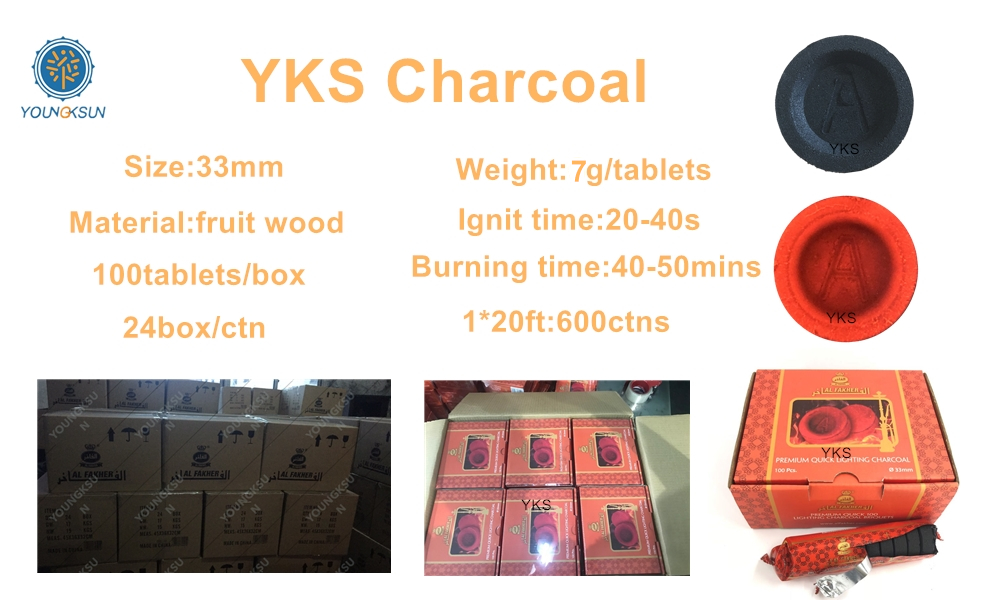 YKS 33mm charcoal tablets round quick lighting shisha hookah Alfakher charcoal