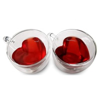 New design heart shape double wall glass cup juice milk mug glass coffee mug