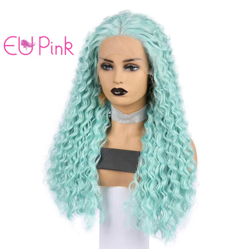 EU Pink hair fashionable afro curly green color perruque ladies synthetic hair wigs for Halloween costume and ladies' daily life