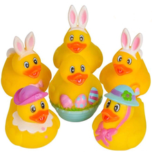 2.5 Inch Assorted Easter Rubber Duckies for Kids, Pack of <strong>12</strong>, Mini Duck Surprise Toys