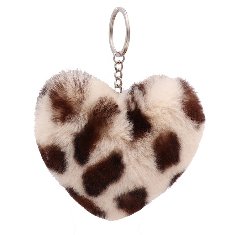 Wholesale Faux Fur Keychains Leopard Print Color Heart Shaped Pom Pom Keychain Accessories