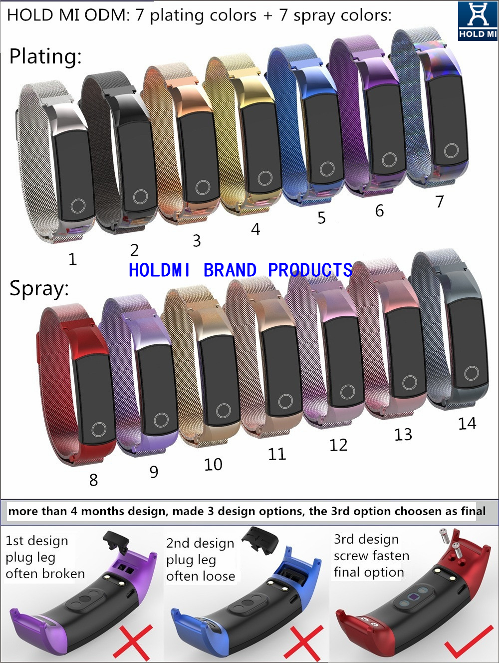Original factory direct sale hold mi 7082 series colorful watch band strap for HUAWEI honor band 4