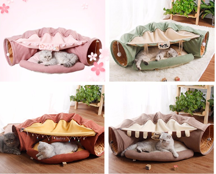 New arrival Cat plush  interactive play tunnel toy cat bed
