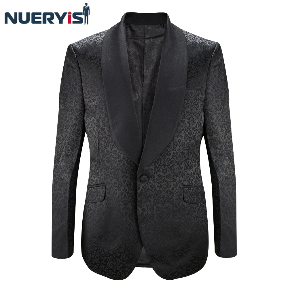 New Look Slim Fit Wedding Groom Black Tuxedo Single Breasted Prom Blazer Banquet Elegant Design High End Jacquard Men's Tuxedo
