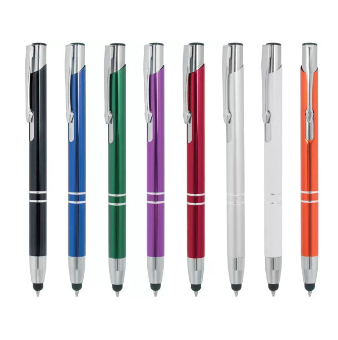 customer laser engraved logo business gift aluminium metal ball <strong>pen</strong> with black touch screen stylus