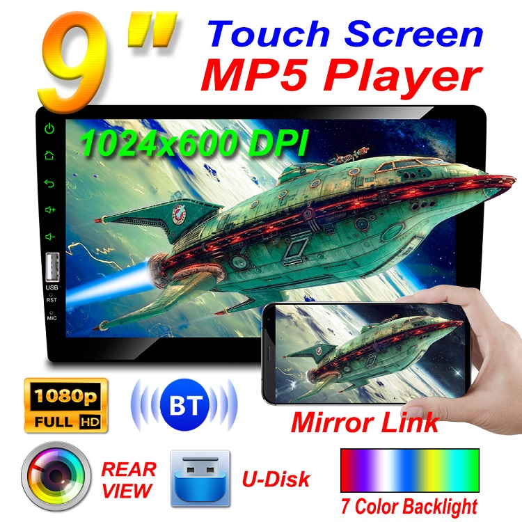 "1 Din 9"" HD LCD-TFT Capacitive Touch Screen Dashboard Car Radio Stereo Car Audio Mutimedia MP5 Car Player Support 1080P Video"