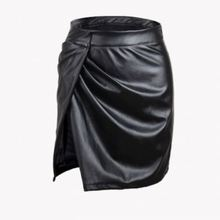 F10606A New Aliexpress nightclub slit leather <strong>skirt</strong> for woman