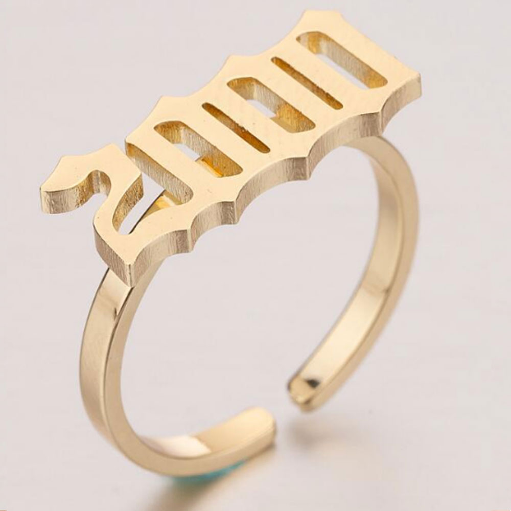 cheap wholesale 1980-2000 years silver and gold colors Anniversary stainless steel birth year open cuff adjustable ring jewelry