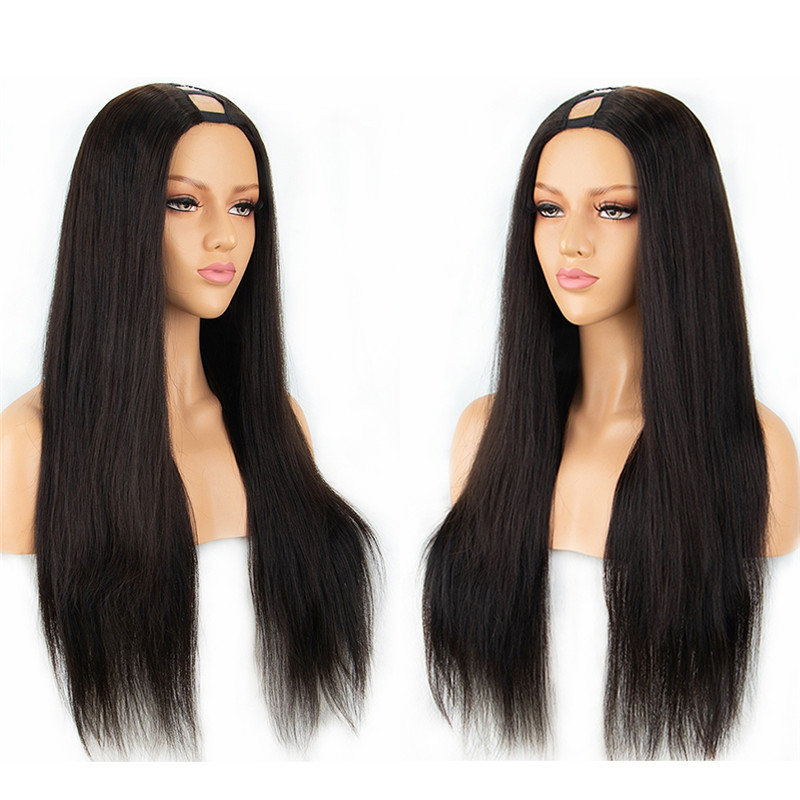 High Quality Thick 180% Density Straight U Part Wigs For Black Women Middle Part Half Hand Tied Made Human Hair wigs