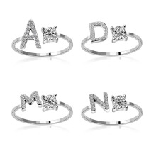 INS HOT 26 Initial Zircon <strong>ring</strong> Adjustable Personalized alphabet Letter clear rhinestone Fine Finger <strong>Ring</strong>